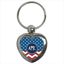 American (USA) Heart Shaped Monogram Key Chain - Unique Personalized Gifts