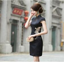 Vintage Cheongsam QiPao MIni Dress Sleeveless Chinese Womens Dress Evening Dress