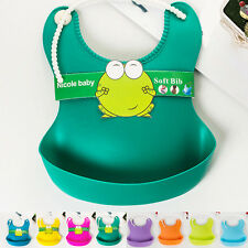 Aprons Infant Waterproof Silicone Feeding Lunch Bibs Saliva Unisex Kids Baby New