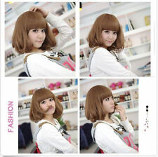 Women's  Short Wavy Curly Bangs Hair Costume Wig Cosplay Synthetic Full Wigs+Cap