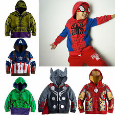 Kids Boys Spiderman Zip Up Hooded Sweatshirt Hoodies Jacket Coat Outwear 2-8Year