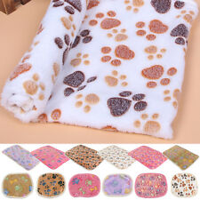 Coral cashmere Pet Small Large Paw Print Soft Blanket Bed Cushion Cat Dog Puppy