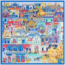 """Women's Satin Silk Square Scarf with the Pattern of Impressionism Village35""""x35"""""""
