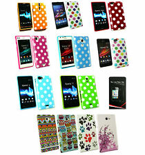 Polka Dots Gel Case Cover for Sony Xperia Phone Models + Screen Protector