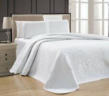 NEW Twin XL Full Queen Cal King Size Bed White 3 pc Coverlet Quilt Bedspread Set