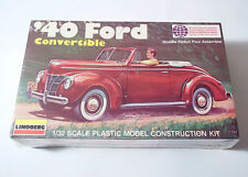 NEW SEALED Lindberg 1940 '40 Ford Convertible 1/32 Scale Model Construction Kit