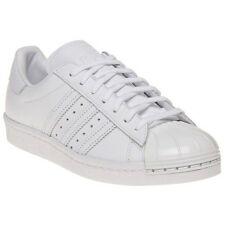 New Womens adidas White Superstar 80's Metal Toe Leather Trainers Court Lace Up