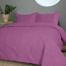 NEW Twin Full Queen Cal King Bed Solid Purple 3 pc Coverlet Quilt Bedspread Set
