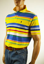Ralph Lauren Classic Fit Yellow Multi-Colored Stripe Mesh Polo Shirt/ Pony-NWT