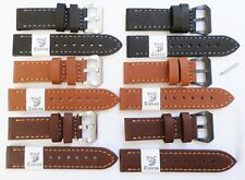 Taurus® Genuine Calf Leather Stitched Watch Band PreV Brushed PVD Black Buckle