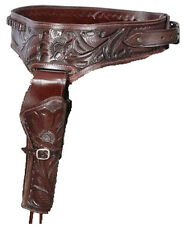 Authentic Cowboy/ Western Leather Gun Holster and Belt in Brown 44/45 Caliber