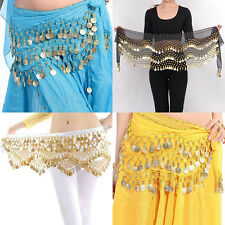 New Chiffon Belly Dance Hip Scarf 3 Rows Coin Belt Skirt HP