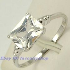 7#,9#,9.5# RING SOLITAIRE 9*7MM SQUARE CZ 18K WHITE GOLD PLATED SOLID FILL GP