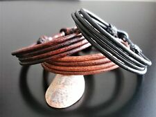 leather cuff bracelet surfer tribal ethnic 3mm cord