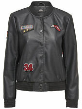 Women's Jacket LEATHER jacket SANDY BADGE FAUX LEATHER BOMBER black 15129800 NEW