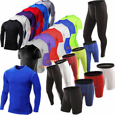 Mens Compression Shirt Armour Base Layer Tight  Shorts Pants Sports Athletic Tee