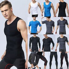 Mens Sports Base Layer Compression Top Shirt Running Sport Jogger Leggings Pants