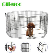 8 Panel Metal Playpen Tall 24'' 30'' Wire Fence Pet Dog Folding Yard Exercise