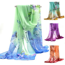 Womens Ladies Elegant Long Chiffon Stole Scrawl Flower Printed Wrap Soft Scarf