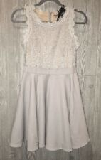 NEW  Juniors Sz M ROMEO JULIET COUTURE Grey Lace Overlay Bodice Cocktail Dress