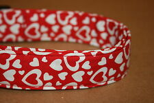 Red & White Hearts Valentine Dog Collars & Martingales & Leashes & Cat Collars