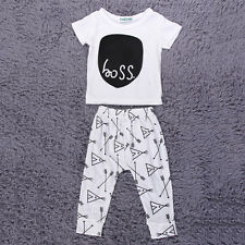 New Toddler Baby Outfits Clothes SS Letters Pattern Tops+Pants 2PCS Set  F7ZJ