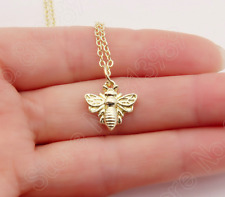 18k Gold Plated Honey Bumblebee Bee Necklace Insect Pendant in Gift Bag/Box