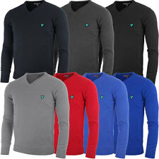 Lyle & Scott Mens Green Eagle KN183G V-Neck Lambswool Golf Jumper Sweater