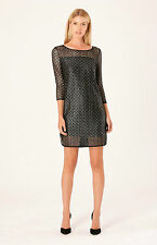 Hale Bob Metallic Black Lace Dress 3/4 Sleeve 00 XXS XS NWT $154 3UPS6232