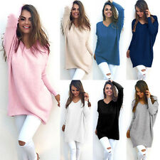 New Womens V-Neck Casual Knitted Oversized Baggy Sweater Jumper Long Tops Dress