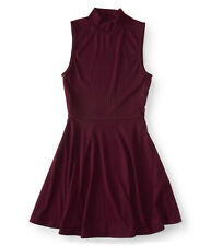aeropostale womens ribbed mock-neck fit & flare dress