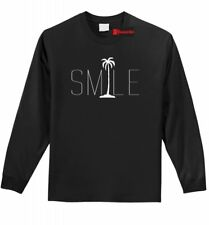 Smile Graphic Tee Palm Tree L/S T Shirt Beach Bum Happy Ocean Graphic T Shirt Z1