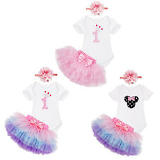 Toddler Baby Girls 1st Birthday Romper+Tutu Skirt+Headband Party Outfits 0-12M