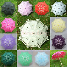 New Handmade Flower Girl Kids Lace Cotton Parasol Umbrella Bridal Wedding Decor