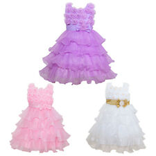 Pageant Flower Girl Kid Dress Bows Wedding Pearl Baptism Layers Ruffle Gown 3-8Y
