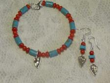 CYNTHIA LYNN MY VALENTINE RED CORAL TURQUOISE 925 SILVER HEART BRACELET EARRINGS