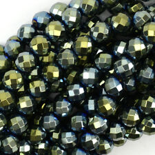 "Faceted Green Hematite Round Beads Gemstone 15.5"" Strand 3mm 6mm 8mm 10mm 12mm"