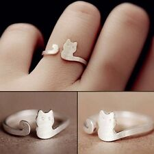 Silver Gold Plated Cat Kitty Kitten Tail Ring Adjustable Ring in Gift Bag/Box