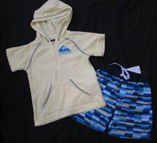 QUIKSILVER boys yellow terry cloth cover up swim trunks board shorts set NEW