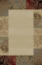 CASUAL ivory BROWN green FLORAL area RUG transitional LEAVES bordered CARPET