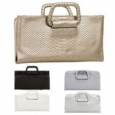LADIES NEW MOCK CROCK METALLIC CLUTCH BAG EVENING FORMAL DESIGNER BAG UK