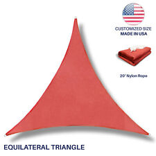 Custom equilateral triangle Red Sun Shade Sail Canopy Awning  Patio Pool Cover