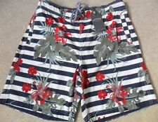 "FAT FACE NAVY FLORAL STRIPE SHORTER LENGTH BOARD STYLE BEACH SWIM SHORTS 30"" 32"""