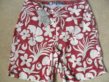 "EX FAT FACE DARK RED FLORAL SHORTER LENGTH BOARD STYLE BEACH SWIM SHORTS 32""W"