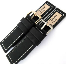22mm DARLENA 1359 PARALLEL STITCHED LEATHER WATCH STRAP. BLACK. GOLD OR SILVER