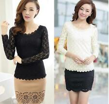 Top Ladies  T-Shirt New Long Sleeve Blouse O-neck Women Casual Stretch Lace