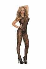 Lace Bodystocking Black Red Crotchless Reg & Plus Sizes ELEGANT MOMENTS NEW