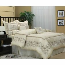 Queen Cal King Bed Beige Tan Floral Vines Embroidered 7 pc Comforter Set Bedding