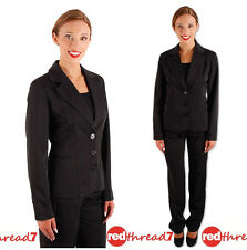 Womens Work Black Business Tailored Corporate Fitted Suit Jacket Blazer Ladies