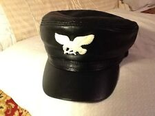 White Handcarved Bone American Bald Eagle 100% Genuine Leather Cap Harley Biker